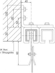"""Seitenverschiebbar für PVC-Streifenvorhänge """"starr"""" Edelstahl"""
