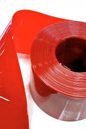 PVC Streifenzuschnitt Trans-Rot 200x2