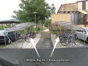 Anbauelement für 5 Fahrräder - Breite 200 cm - feuerverzinkt für MODUL BIG