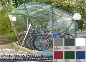 Anbauelement für 5 Fahrräder - Breite 200 cm - pulverbeschichtet für MODUL BIG